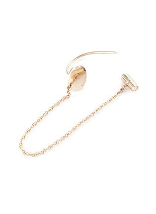 Detail View - Click To Enlarge - Delfina Delettrez - 'ABC' diamond 18k yellow gold single chain earring