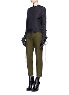 Haider Ackermann Lace-up waist cropped wool pants