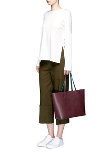 Mischa'Monogram' perforated logo leather East West tote