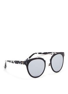 Stephane + Christian'Adora' tortoiseshell temple metal mirror sunglasses