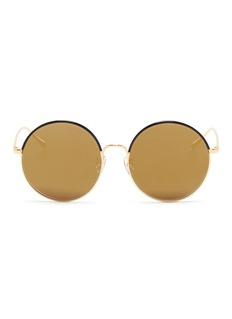Stephane + Christian'Cantabile' coated rim round metal mirror sunglasses