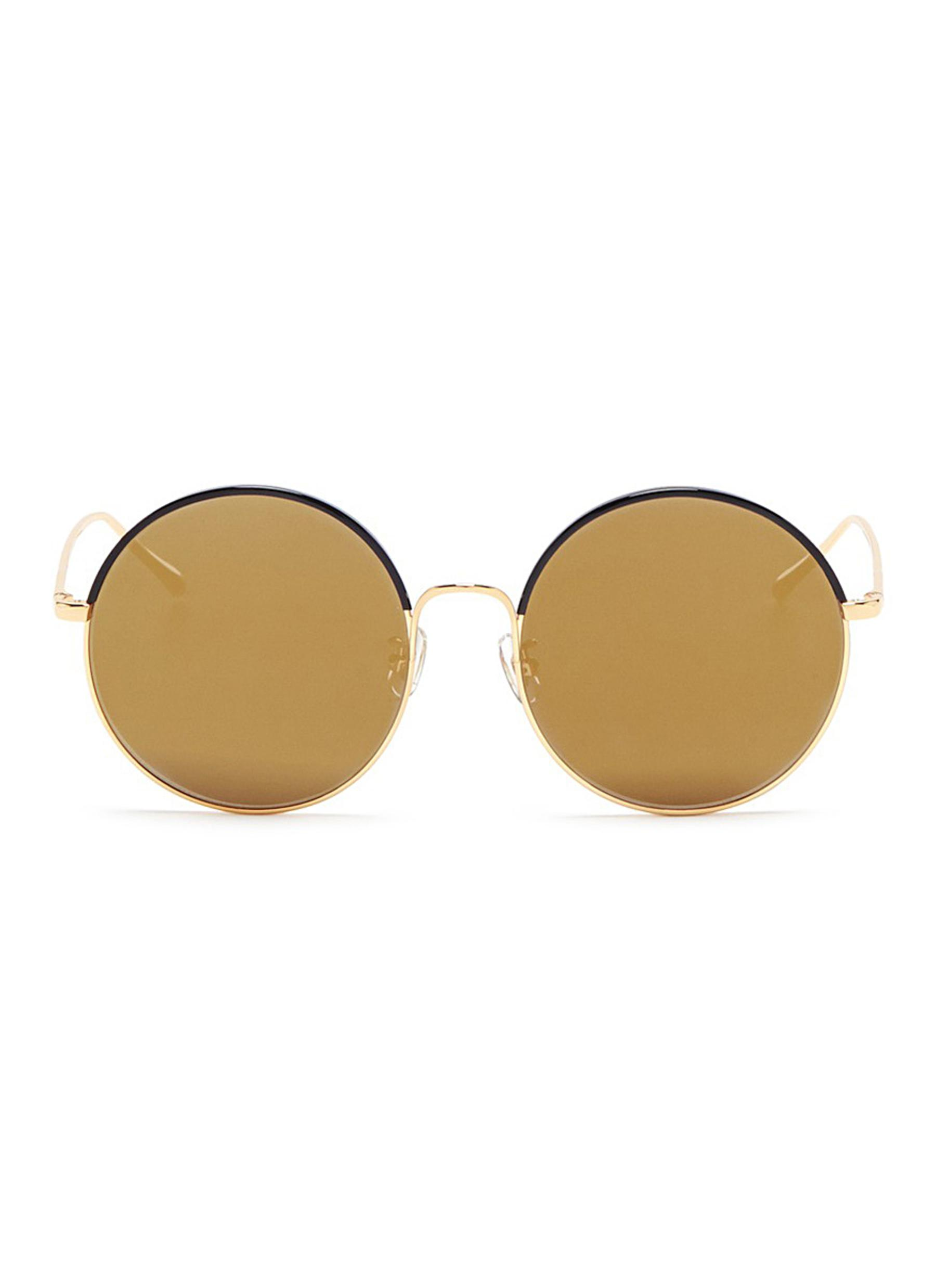Cantabile coated rim round metal mirror sunglasses by Stephane + Christian