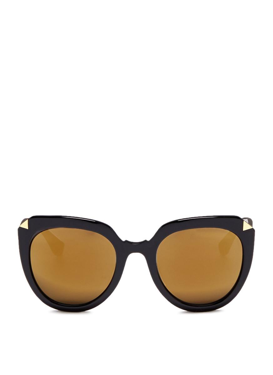stephane christian female moka oversized dframe acetate mirror sunglasses