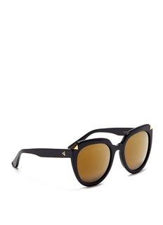 Stephane + Christian'Moka' acetate round cat eye mirror sunglasses