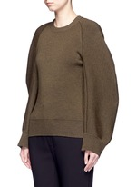 Cocoon sleeve wool blend knit sweater