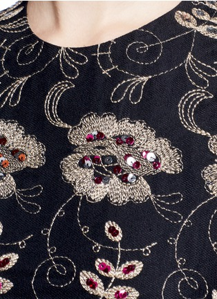 Detail View - Click To Enlarge - Givenchy - Metallic floral embroidered silk sleeveless dress