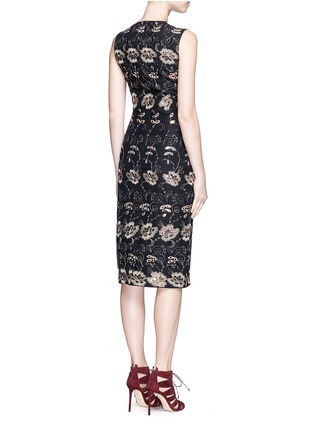 Back View - Click To Enlarge - Givenchy - Metallic floral embroidered silk sleeveless dress