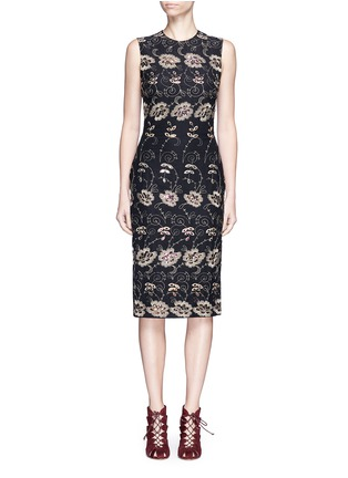 Main View - Click To Enlarge - Givenchy - Metallic floral embroidered silk sleeveless dress