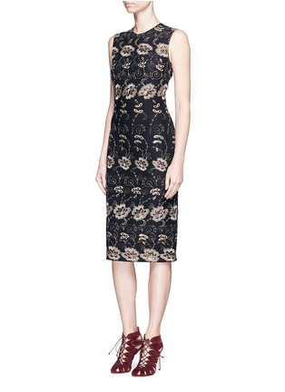 Figure View - Click To Enlarge - Givenchy - Metallic floral embroidered silk sleeveless dress