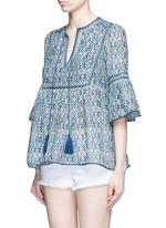 'Gypsy' tribal print tasselled neck cotton-silk top