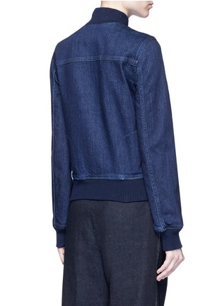 Back View - Click To Enlarge - Stella McCartney - Lace insert denim bomber jacket