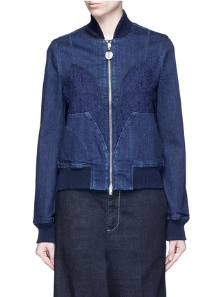 Main View - Click To Enlarge - Stella McCartney - Lace insert denim bomber jacket