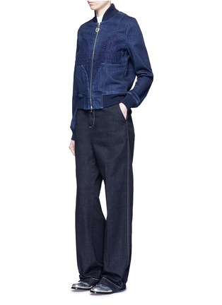 Figure View - Click To Enlarge - Stella McCartney - Lace insert denim bomber jacket