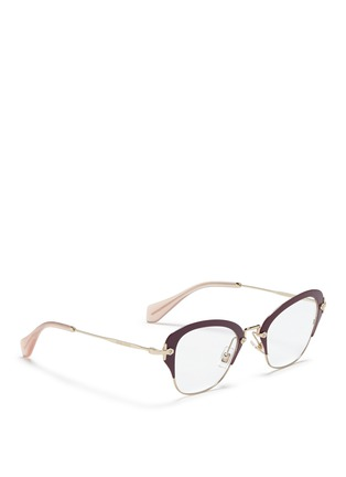 Figure View - Click To Enlarge - miu miu - Coated rim metal optical glasses