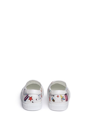 Back View - Click To Enlarge - Anya Hindmarch - 'All Over Sticker Skater' embossed leather slip-ons