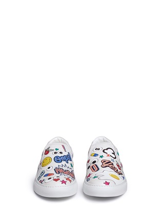 Front View - Click To Enlarge - Anya Hindmarch - 'All Over Sticker Skater' embossed leather slip-ons
