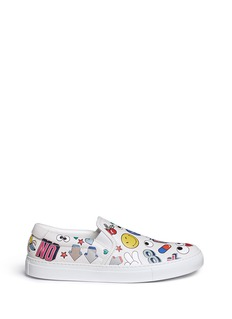 Anya Hindmarch 'All Over Sticker Skater' embossed leather slip-ons