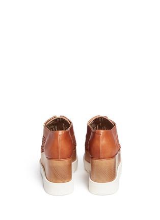 Back View - Click To Enlarge - Stella McCartney - 'Elyse' wicker panel wood platform Derbies