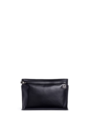 Loewe-'T Pouch' large leather zip clutch