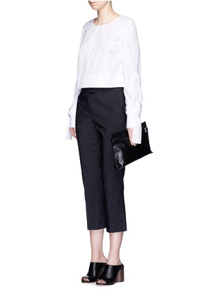 Figure View - Click To Enlarge - Loewe - 'T Pouch' large leather zip clutch