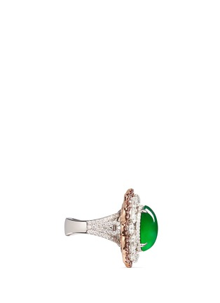 Detail View - Click To Enlarge - Samuel Kung - Jade diamond 18k rose gold earring and ring set