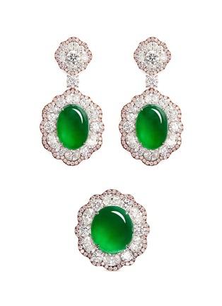 Samuel Kung-Jade diamond 18k rose gold earring and ring set