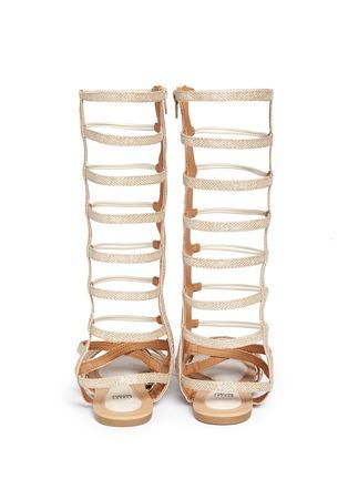 Back View - Click To Enlarge - Stuart Weitzman - 'Camia Sparta High' metallic kids gladiator sandals
