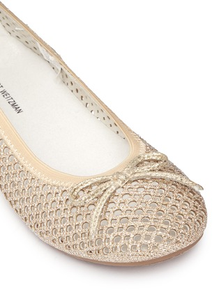 Detail View - Click To Enlarge - Stuart Weitzman - 'Fannie Cutout' bow glitter kids ballerinas