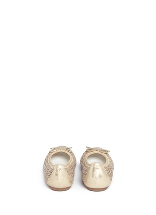 Back View - Click To Enlarge - Stuart Weitzman - 'Fannie Cutout' bow glitter kids ballerinas