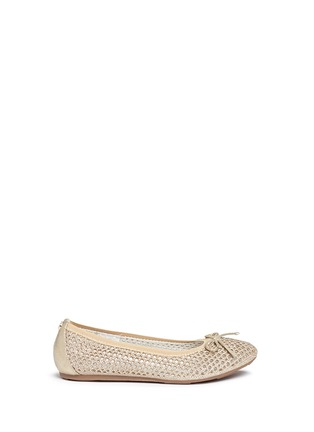 Main View - Click To Enlarge - Stuart Weitzman - 'Fannie Cutout' bow glitter kids ballerinas