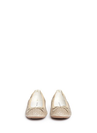 Figure View - Click To Enlarge - Stuart Weitzman - 'Fannie Cutout' bow glitter kids ballerinas