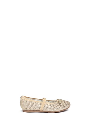 Main View - Click To Enlarge - Stuart Weitzman - 'Fannie Cutout Straps' bow glitter kids ballerinas