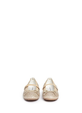 Figure View - Click To Enlarge - Stuart Weitzman - 'Fannie Cutout Straps' bow glitter kids ballerinas