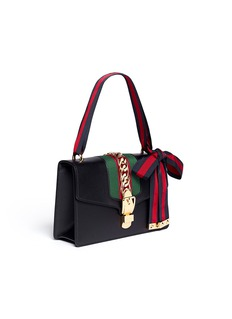 Gucci 'Sylvie' small leather chain Web shoulder bag