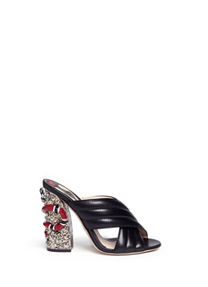 Gucci Stud snake heel ribbed leather sandals