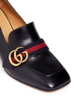 Stripe faux pearl stud leather loafers