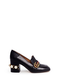 Gucci Stripe faux pearl stud leather loafers