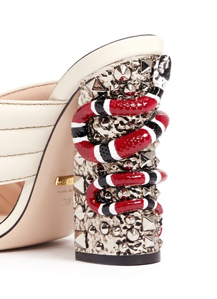 Detail View - Click To Enlarge - Gucci - Stud snake heel ribbed leather sandals