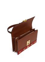 'Cat Lock' stud stripe leather handbag