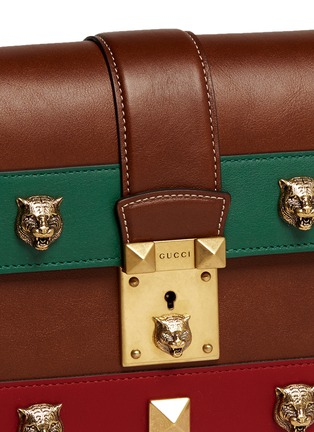 Detail View - Click To Enlarge - Gucci - 'Cat Lock' stud stripe leather handbag
