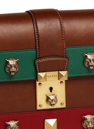 Gucci-'Cat Lock' stud stripe leather handbag