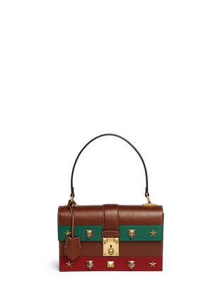 Main View - Click To Enlarge - Gucci - 'Cat Lock' stud stripe leather handbag