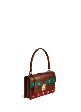 Figure View - Click To Enlarge - Gucci - 'Cat Lock' stud stripe leather handbag