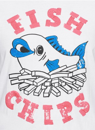 Detail View - Click To Enlarge - MARKUS LUPFER - 'British Fish & Chips' sequin Alex T-shirt