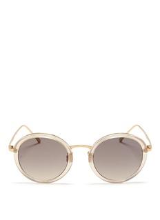 LINDA FARROWRound acetate rim titanium sunglasses