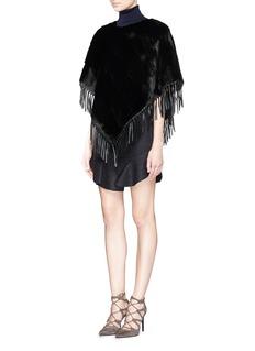 YVES SALOMONFringe leather trim mink fur cape