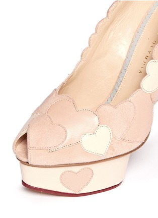 Detail View - Click To Enlarge - Charlotte Olympia - 'Love Me' suede heart appliqué pumps