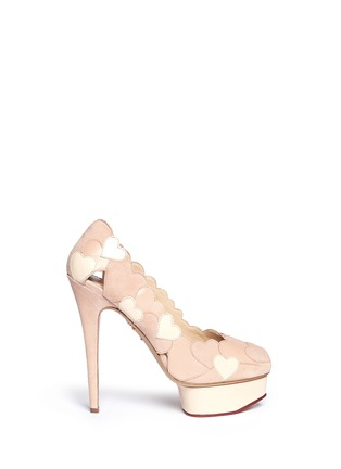 Main View - Click To Enlarge - Charlotte Olympia - 'Love Me' suede heart appliqué pumps