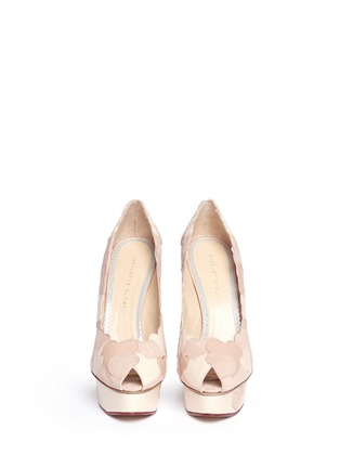 Figure View - Click To Enlarge - Charlotte Olympia - 'Love Me' suede heart appliqué pumps