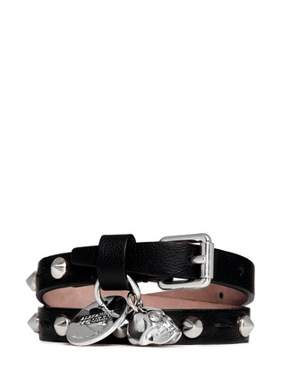 Main View - Click To Enlarge - Alexander McQueen - Skull charm double wrap stud leather bracelet